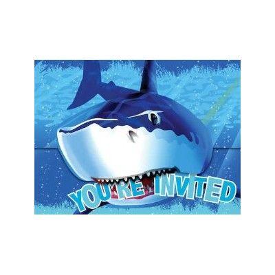Inbjudningskort - Shark splash - 8 st