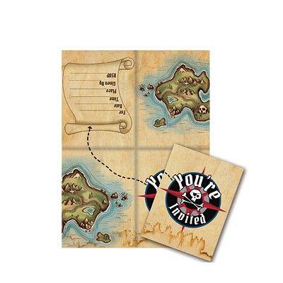 Inbjudningskort - Pirate's Map - 8 st