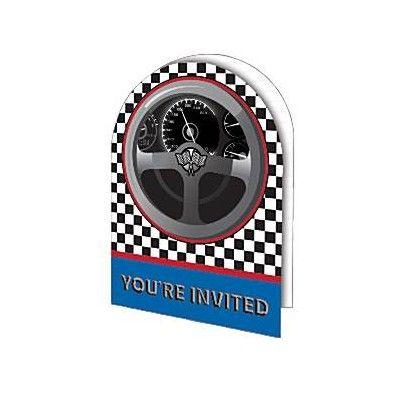 Inbjudningskort - racing - 8 st