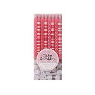 Tårtljus - rosa med prickar och ränder - 16 st
