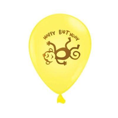 Ballonger - gul med apa - 6 st
