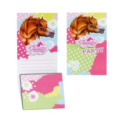 Inbjudningskort - hästar - 6 st