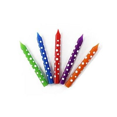 Tårtljus - färgglada med prickar - 12 st