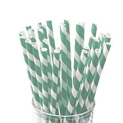 Sugrör av papper - ränder - grön/vit - 30 st