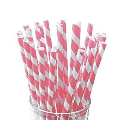 Sugrör av papper - ränder - rosa/vit - 30 st