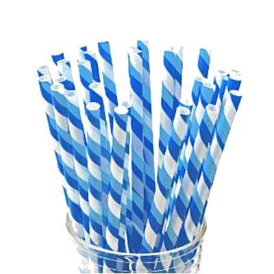Sugrör av papper - ränder - blå/vit - 30 st