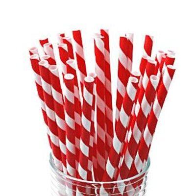 Sugrör av papper - ränder - röd/vit - 30 st