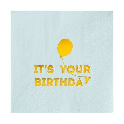 Kalasservetter - It`s your birthday, blå
