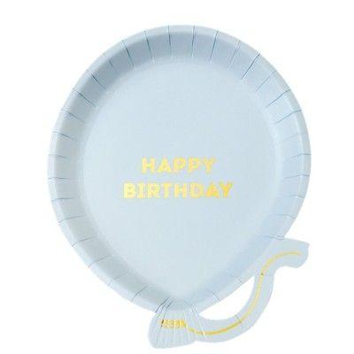 Kalastallrikar - ballong, Happy birthday, blå