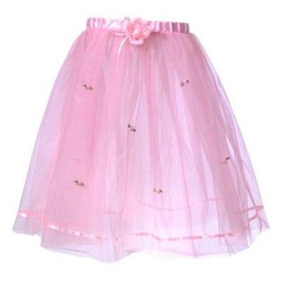 Tyllkjol med rosenknoppar (lång) - rosa  -  4-6 år