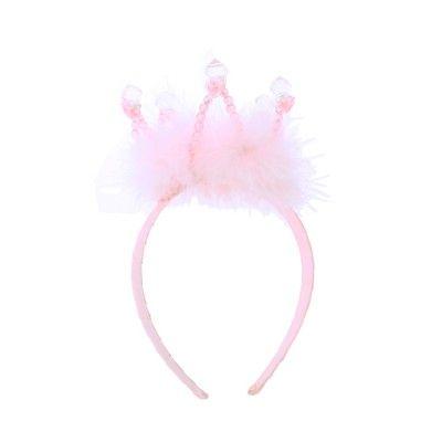 Diadem - prinsesskrona med rosa fluff