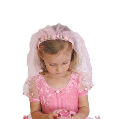 Prinsessdiadem med slöja - rosa