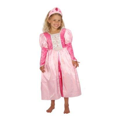 Prinsessklänning med lång puffärm - rosa  - 5-7 år