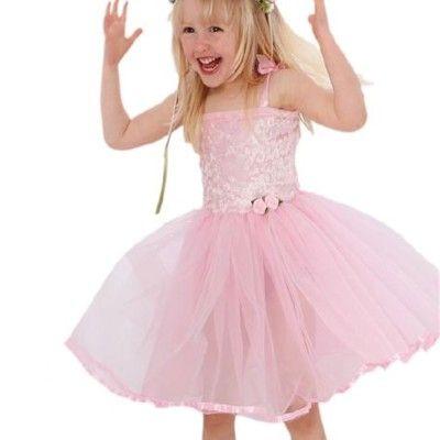 Feklänning med rosa ros  -  5-7 år