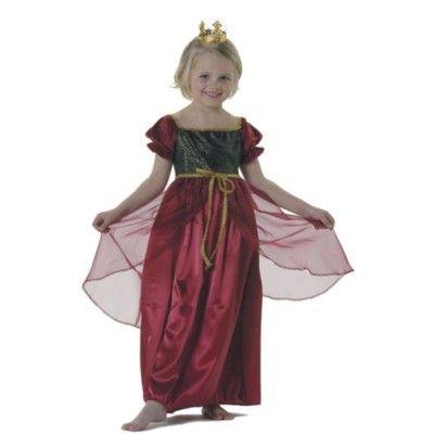 Prinsessklänning, medeltida, mörkröd 2-4 år