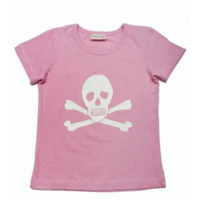 T-shirt, rosa med vitt dödskalletryck, 2-3 år