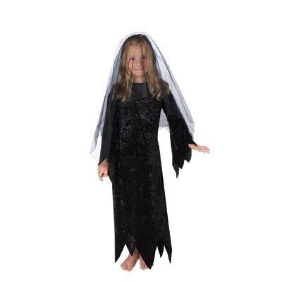 Häxklänning i svart sammet, 4-6 år