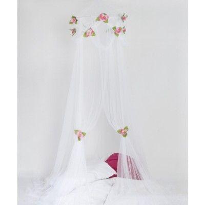 Sänghimmel - vit med rosa rosor