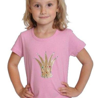T-shirt, rosa med glitterkrona, 1 år