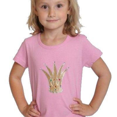 T-shirt, rosa med glitterkrona, 4-6 år