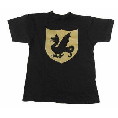 T-shirt, svart med riddartryck - 6-8 år