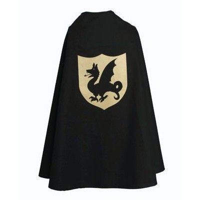 Riddarmantel med drake - svart