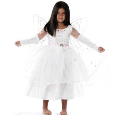 Prinsessklänning - vit med rosa rosor, 4-6 år