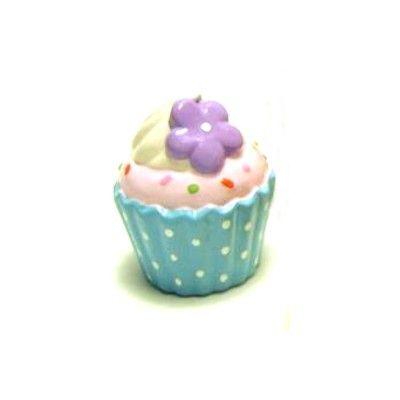 Sparbössa i porslin - turkos cupcake med lila blomma