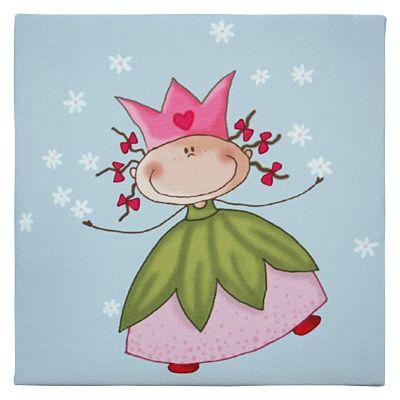 Canvastavla - prinsessa som kastar vita blommor
