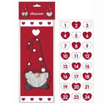 Kalenderpåsar - Tomte och hjärtan
