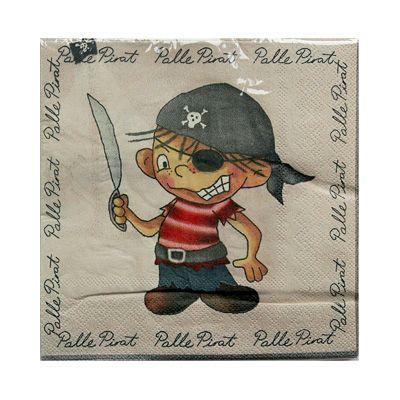 Servetter - Palle Pirat - ljusgrå