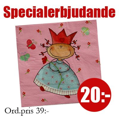 Servetter - Prinsessan Flora - rosa