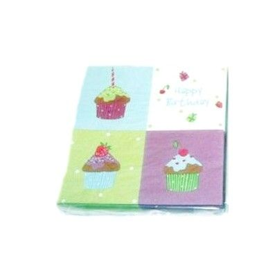 Papperservetter - cupcake - Happy Birthday