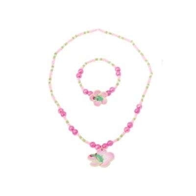 Halsband och armband - rosa blomma med pärlor