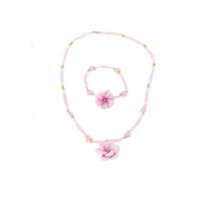Halsband och armband - rosa blomma med stjärnor