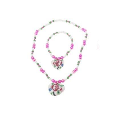 Halsband och armband - hjärta med ros