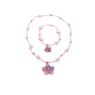 Halsband och armband - rosa och blå blomma
