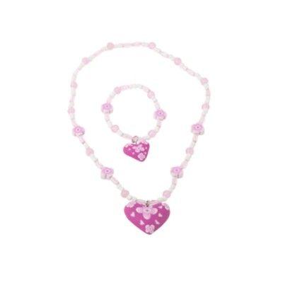 Halsband och armband - rosa hjärta