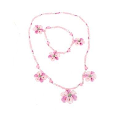 Halsband och armband - tre blommor och stjärnor