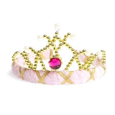 Tiara i rosa sammet med guld