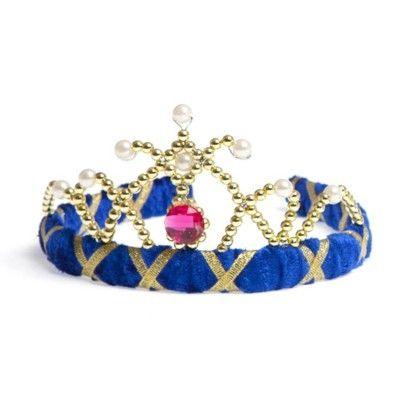 Tiara i mörkblå sammet med guld