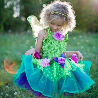 Blomsterklänning med vingar - grön/lila, 5-7 år