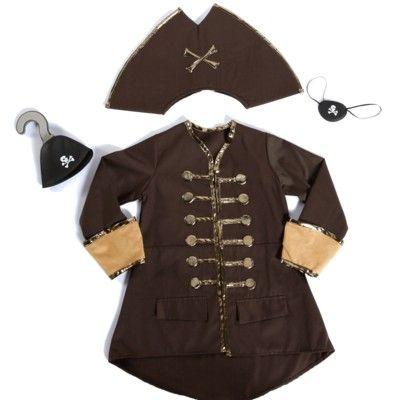Piratkaptensutklädning - brun, 5-7 år
