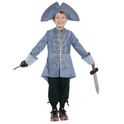 Piratkaptensutklädning - blå, 4-5 år