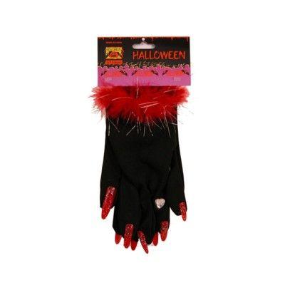Utklädning - svarta handskar med röda naglar