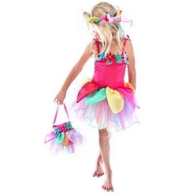 Blomsterklänning - regnbåge, 4-6 år (Fair Trade)