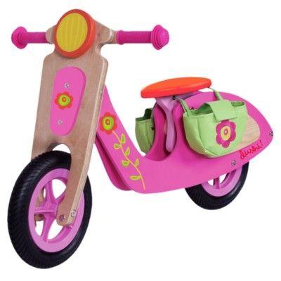 Balanscykel i trä - scooter - rosa