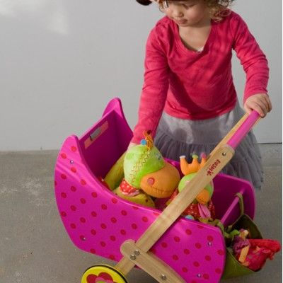 Dockvagn i trä - rosa med prickar