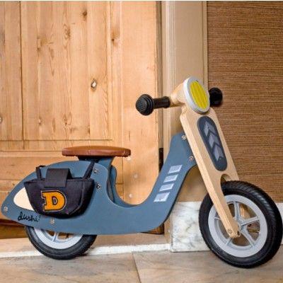 Balanscykel i trä - scooter - grå