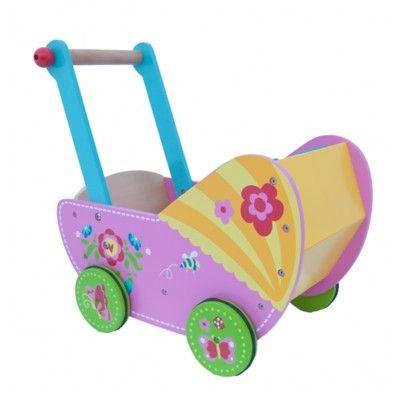 Dockvagn i trä - rosa med blommor